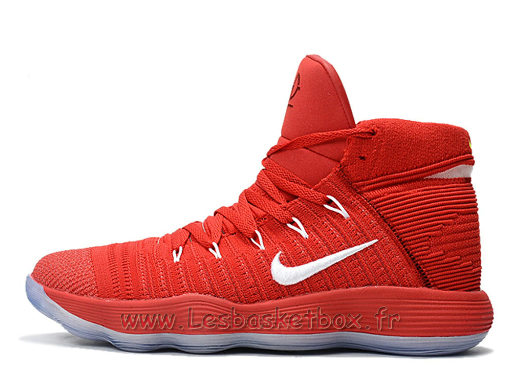 Basket Nike React Hyperdunk 2017 Flyknit Rouge/Blanc 917726_ID4 Chaussures Nike pas Cher Pour homme