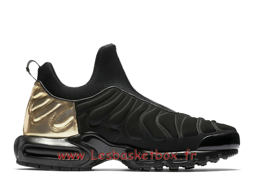 ... Chaussures Basket Nike Air Max Plus TN Slip On Black Gold 940382_001 Officiel 2018 Pour Homme ...