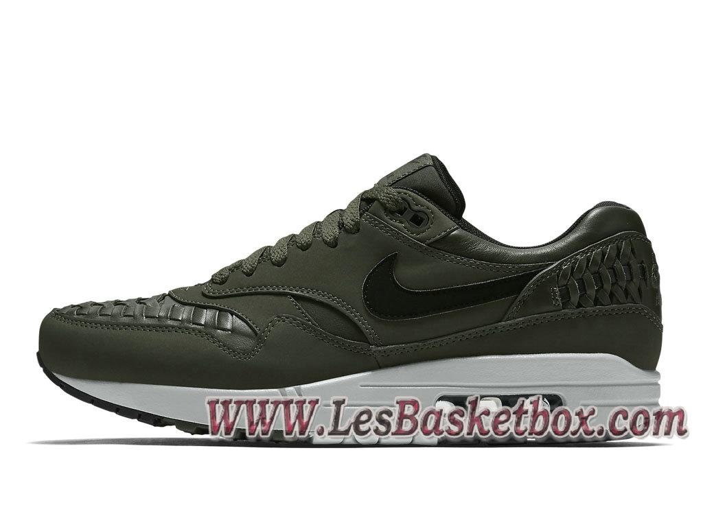 pretty nice dd278 b930a Nike Air Max 1 Woven Carbon Green 725232-300 Chaussures Officiel Prix Vert  Et Noir