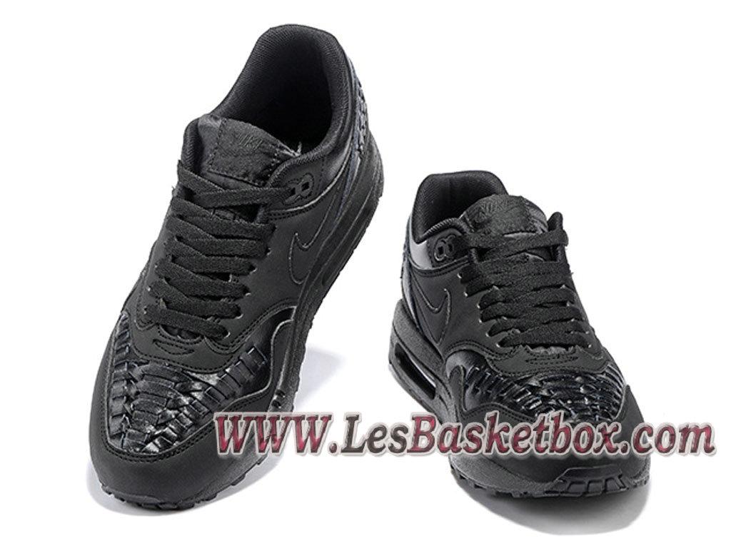 promo code 4009e bb410 ... Nike Air Max 1 Woven Triple Black 725232-002 Chaussures Nike Prix Pour  Homme Noir ...