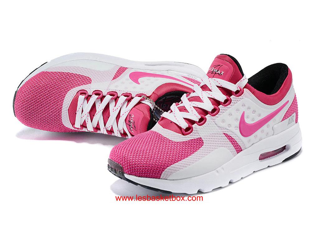 sports shoes 045d8 ae1eb ... Nike Air Max Zero Chaussures Rose Blanche Coleur Pas Chere Pour Femme Enfant  ...