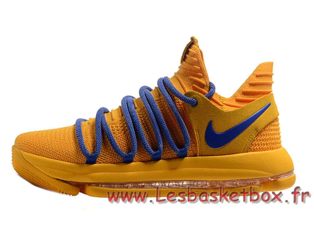Nike KD 10 Bleu Jaune Chausport Nike Kd Pas cher Pour Homme