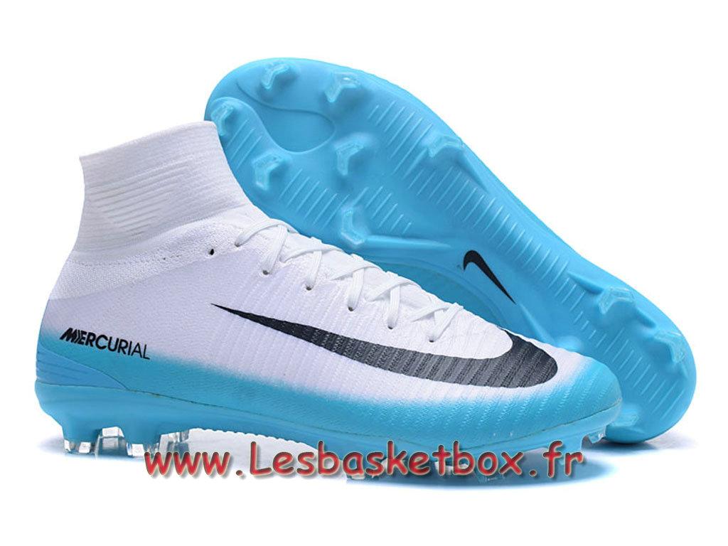 3398ca3a474 ... Nike Mercurial Superfly V FG Chaussure de football à crampons pour  terrain sec Blanc Bleu noires ...