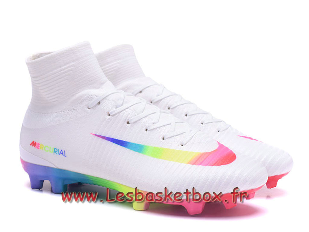Nike Mercurial Superfly V FG Chaussure de football à crampons pour terrain sec Blanc Color