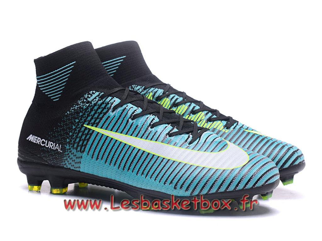 online retailer d1718 3cc46 Nike Mercurial Superfly V FG Chaussure de football à crampons pour terrain  sec noires Bleu ...
