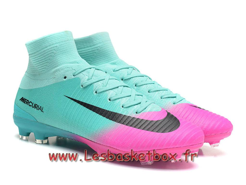 new arrival 646c9 dd683 Nike Mercurial Superfly V FG Chaussure de football à crampons pour terrain  sec Vert Rose