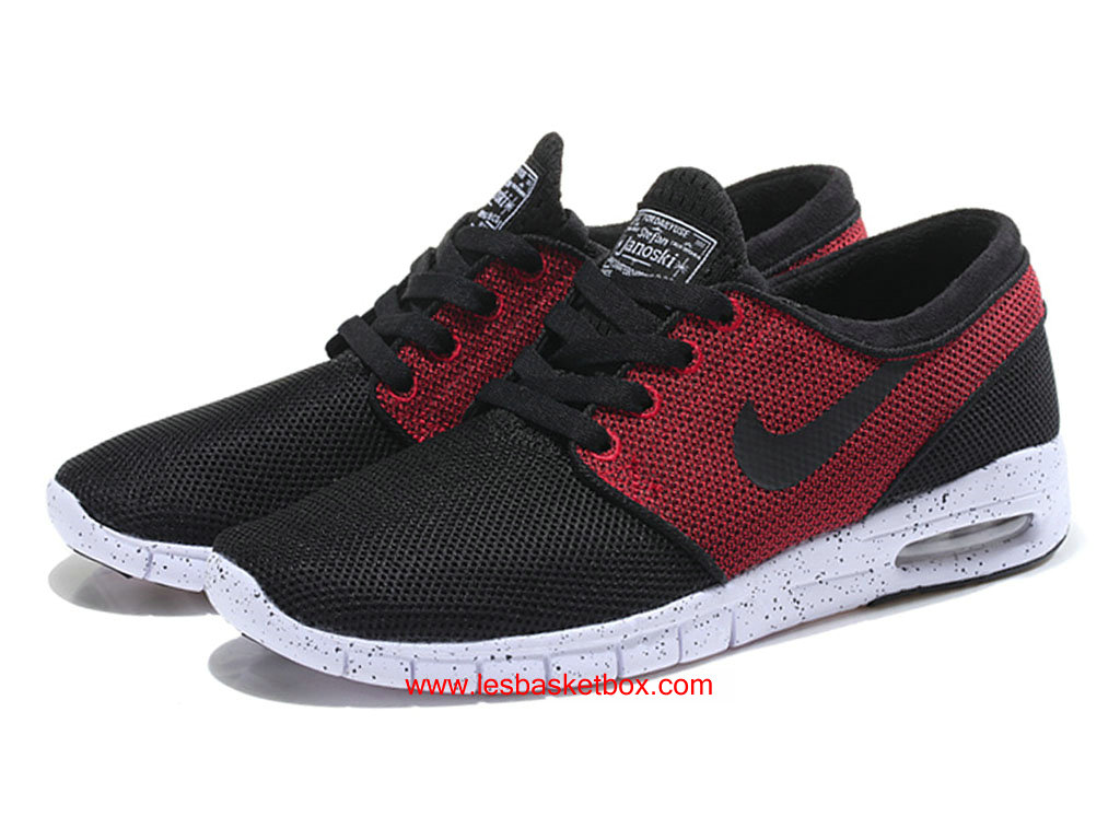 detailing aaf29 74614 ... Nike SB Stefan Janoski Max Trainers Rouge Noire Blanche Homme Pas Cher  ...