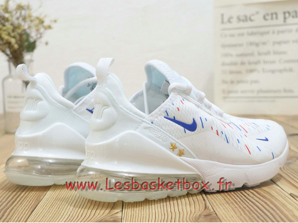 the latest timeless design affordable price Nike Wmns Air Max 270 France 2018 World Cap 2 Etoiles Blanc Bleu Chaussures  Prix Pour Femme/enfant