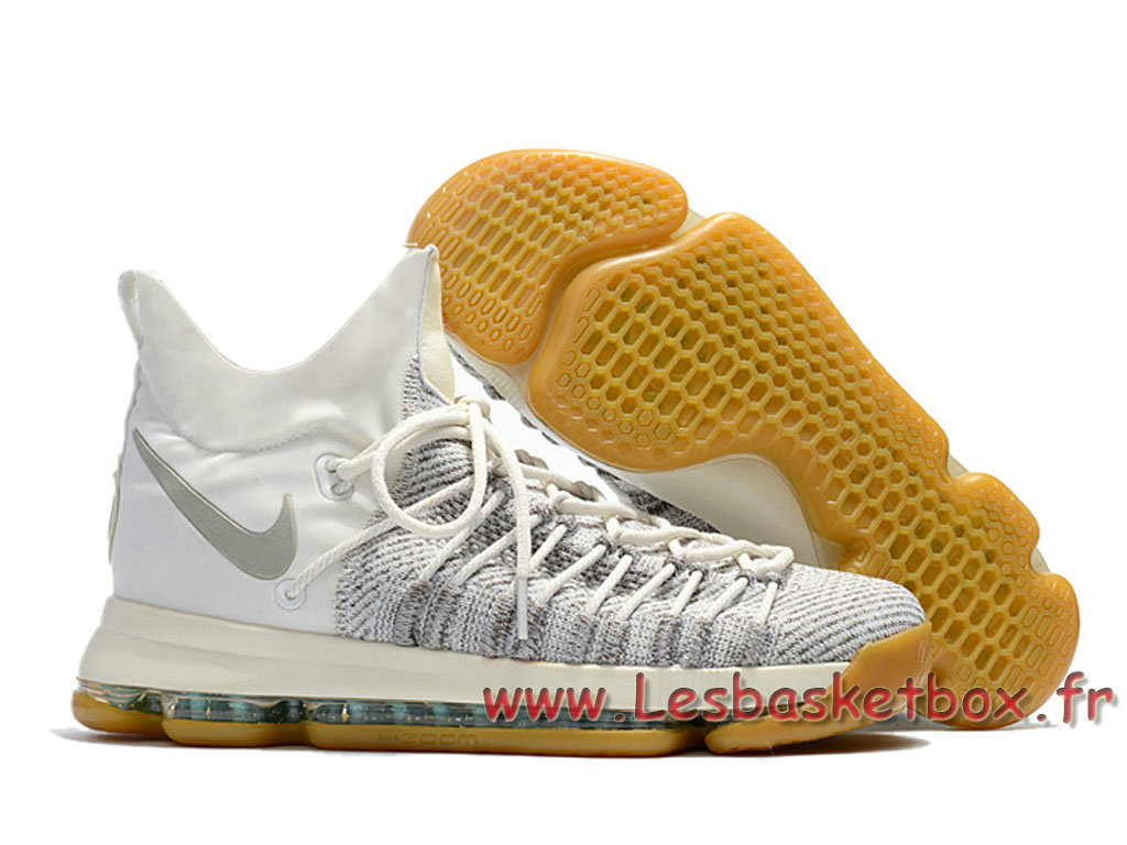 detailed look 5faee 1f47c ... Nike Zoom KD 9 Elite Blanc Gris Chaussures Officiel NIke Kd Pour Homme  Blance ...