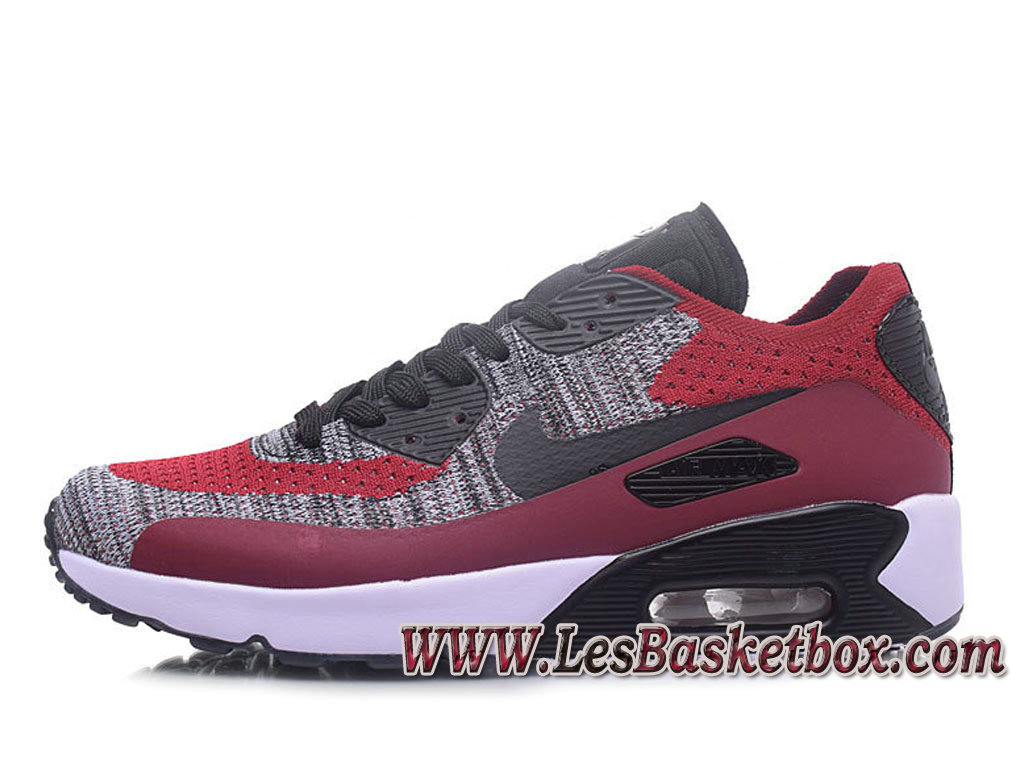 NikeLab Air Max 90 Flyknit Grey Rouge 876320-ID5 Chaussures Officiel Prix Homme