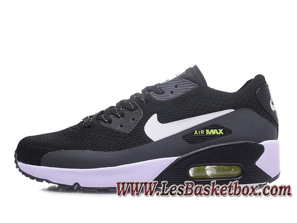 NikeLab Air Max 90 Flyknit Noir/Grey 876320-ID3 Chaussures Nike officiel 2017 Homme
