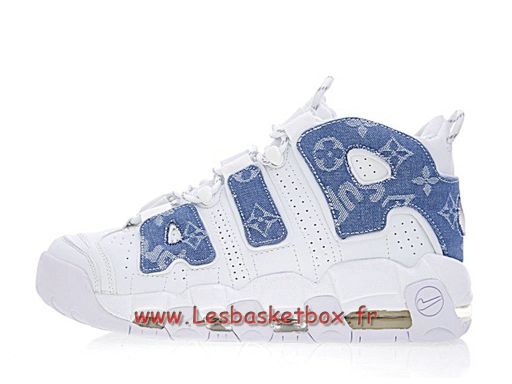 new style d5fec 72e9a Running LV x Supreme x Nike Air More Uptempo White Blue 921948-100  Chaussures Nike