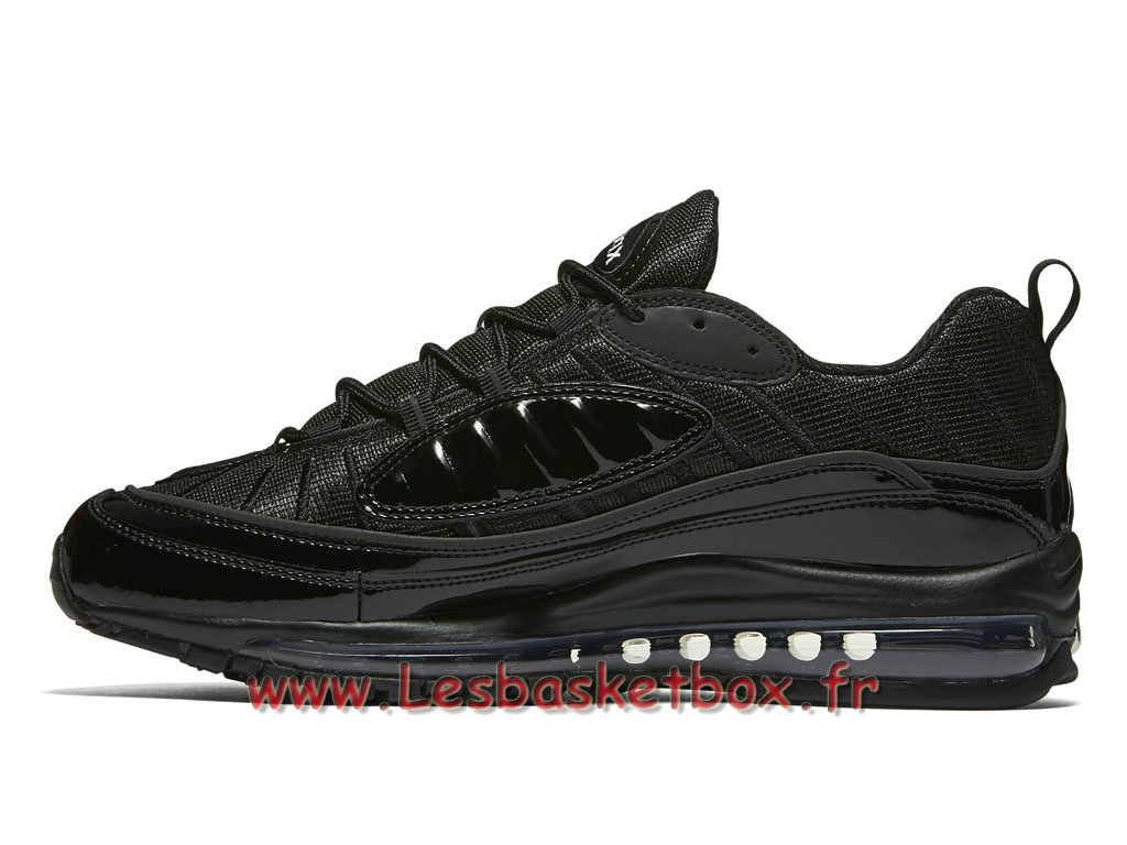 running supreme x nike air max 98 black 844694 001 chaussures nike pas cher pour homme noires. Black Bedroom Furniture Sets. Home Design Ideas