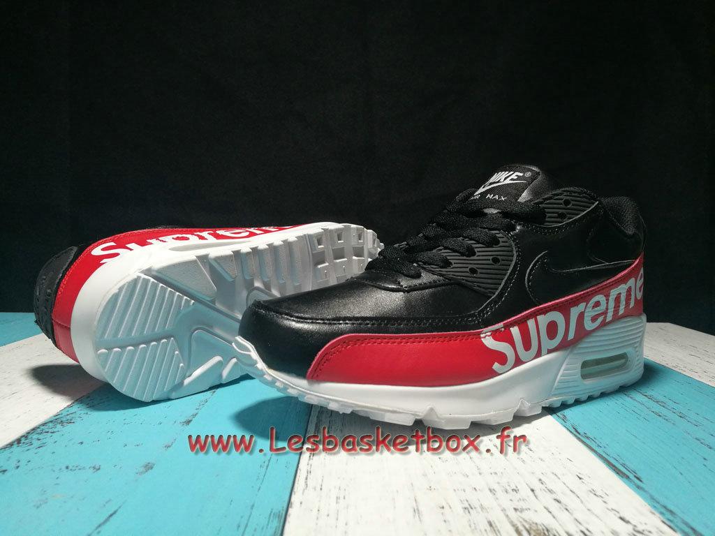 sports shoes a5b9f 29fdb Running X LV x Supreme x Nike Air Max 90 Noir/Rouge Chaussures Nike