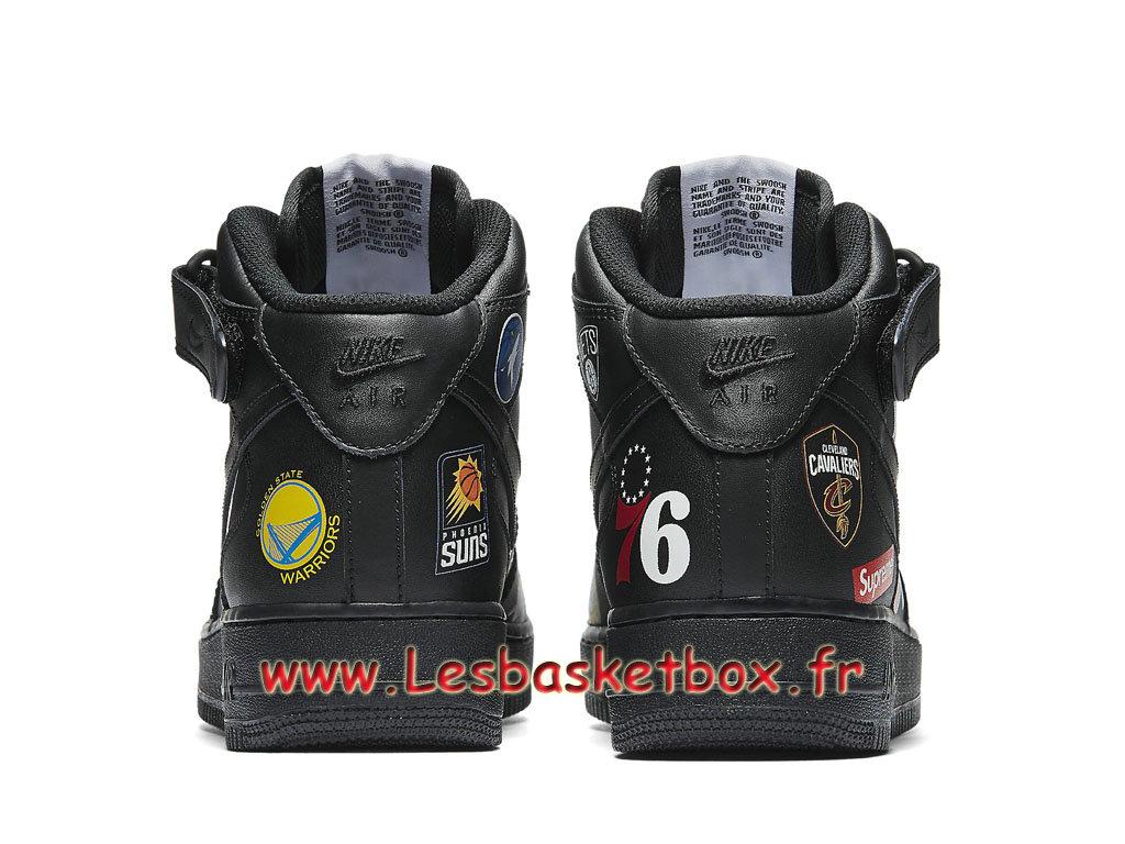 Supreme Nike Air Force 1 Mid Black NBA Logos AQ8017_001 Chaussures Officiel 2018 Pour HOmme 1810201730 Officiel Nike Basket Pour Homme Et Femme A