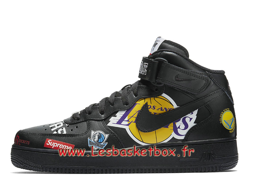 Supreme Nike Air Force 1 Mid Black NBA Logos AQ8017_001 Chaussures Officiel 2018 Pour HOmme