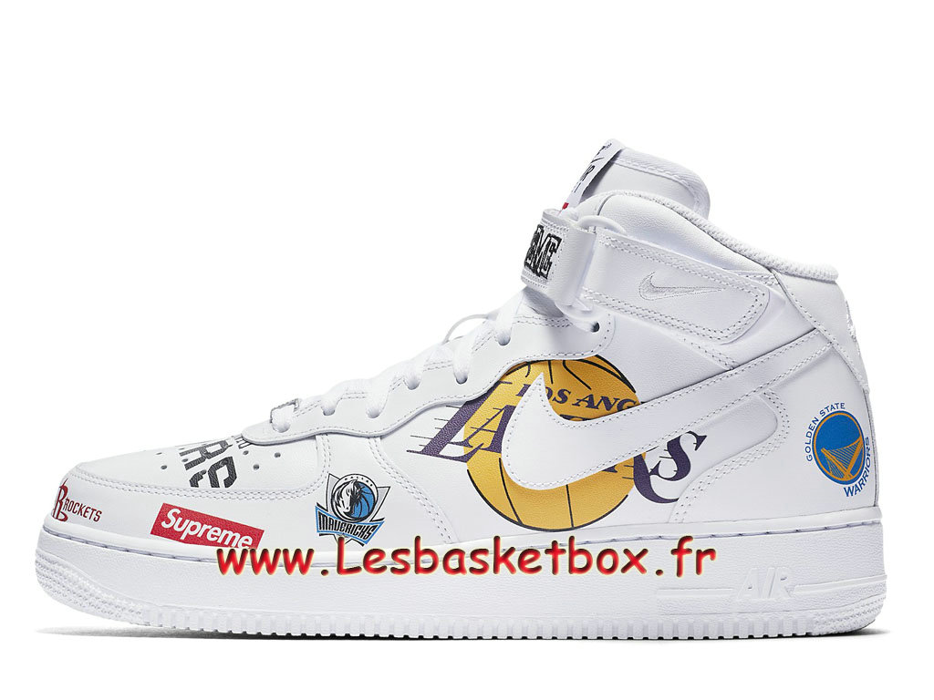 Supreme Nike Air Force 1 Mid White NBA Logos AQ8017_100 Chaussures Officiel Prix Pour Homme