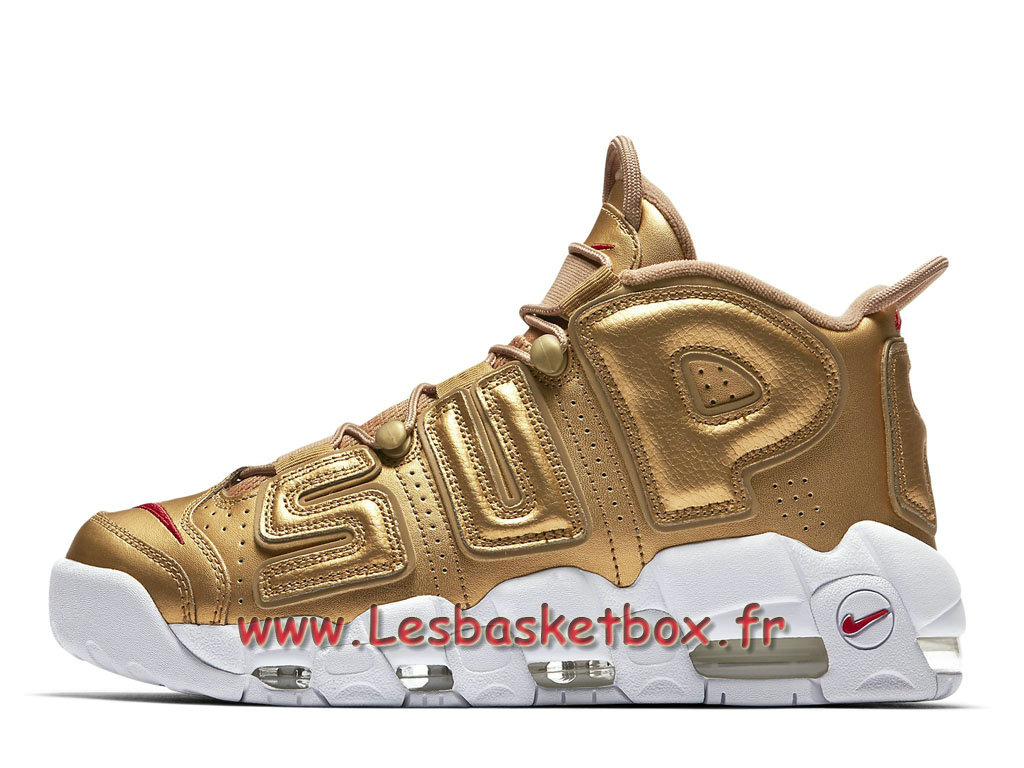 best sneakers 8709b e687a Supreme x Nike Air More Uptempo Metallic Gold 902290700 Homme nike Basket  Pour Or ...